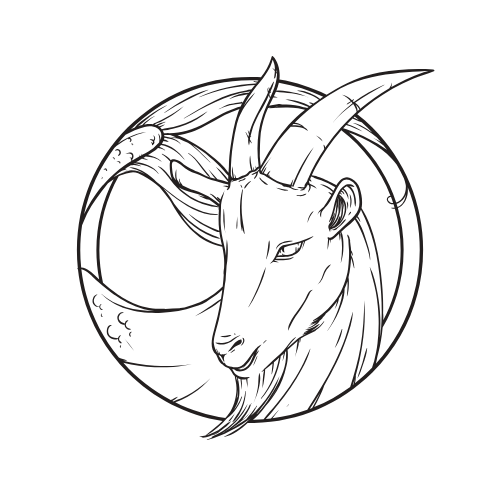 image: drawing of a Capricorn goat
