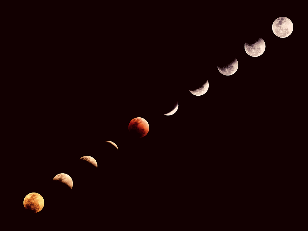 image: moon cycle elapsed time photograph with yellow, red and white colored moons