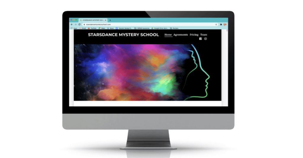 image: Starsdance Mystery School homepage displayed on a desktop computer screen