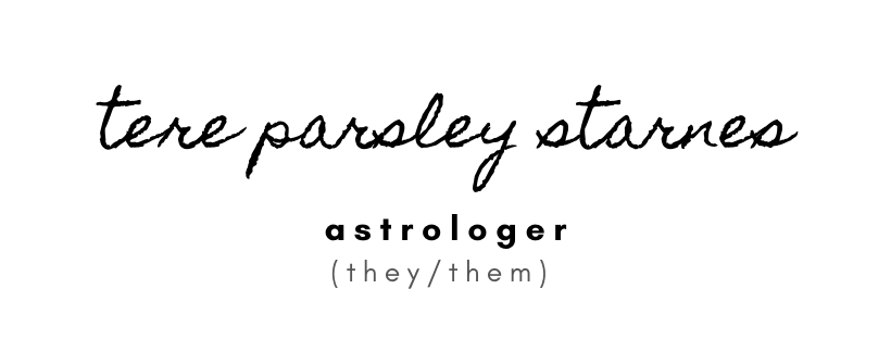 text: Tere Parsley Starnes, astrologer, they/them